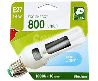 Auchan Bombilla bajo consumo tubo 14 Watios, casquillo E27 (grueso), luz blanca 1 unidad