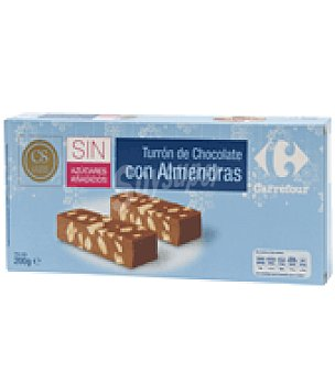 Carrefour Turrón de chocolate con almendras sin azúcares añadidos.(cacao 20% mínimo). 200 g