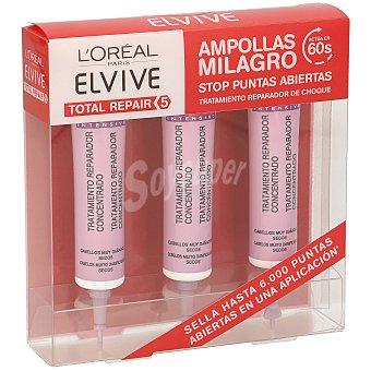 Elvive L'Oréal Paris Total repair 5 tratamiento intensivo cabello seco/dañado 3 ampollas pack 3x20 ml
