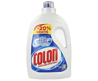 Colón Detergente líquido concentrado para la ropa (blancura impecable, elimina las manchas resecas incluso a 15º) Botella de 24 dosis