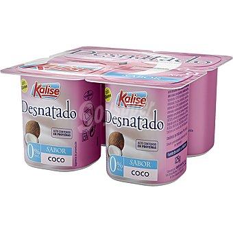 Kalise Yogur desnatado 0% m.g sabor coco sin gluten Pack 4 unidades 125 g