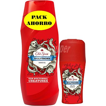 OLD SPICE gel de baño Wolfthorn + desodorante Wolfthorn roll-on envase 50 ml Bote 250 ml