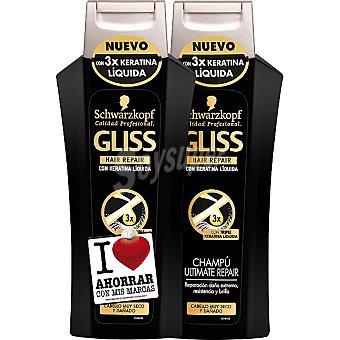Gliss Champú Ultimate Repair con triple queratina líquida cabello muy seco y dañado pack 2 frasco 300 ml (pack precio especial) Pack 2 frasco 300 ml