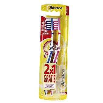 Binaca Cepillo de dientes con cuello flexible y filamentos de dureza media active + 2 uds