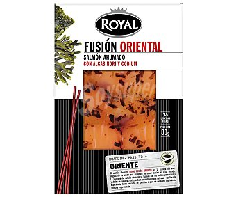 ROYAL FUSIÓN ORIENTAL Salmón ahumado con algas Nori y Codium 80 g