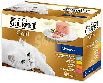 Purina Gourmet Comida Húmeda para Gato Mousse de Pescado Gold 12x85g