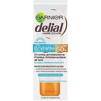 Delial Garnier Crema protectora pieles intolerantes al sol FP-50+ anti-manchas solares tubo 75 ml resistente al agua Sensitive Tubo 75 ml