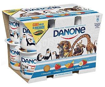 Danone Yogur surtido fresa, macedonia, galleta y fresa-plátano Pack 12 u x 125 g