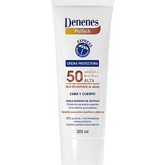 Denenes Crema protectora solar FP-50+ cara y cuerpo doble barrera de defensa resistente al agua spray 300 ml también para pieles sensibles y atópicas Spray 300 ml