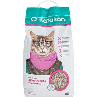 Katakán Arena para gatos aglomerante con perfume talco  envase 10 l