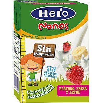 Hero Baby Zumo de plátano fresa y leche 100% natural sin azúcares añadidos Nanos Envase 200 ml