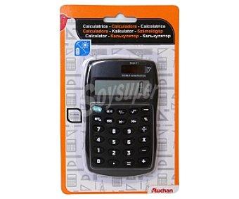 Auchan Calculadora de sobremesa con 10 dígitos y doble alimentación solar y pilas 1 LR54 (incluida) 1 unidad
