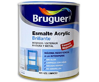 BRUGUER Esmalte decorativo acrílico, de color azul luminoso y acabado brillante 0,75 litros