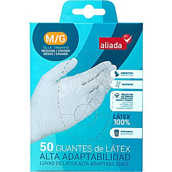 ALIADA Guantes desechables de látex alta adaptabilidad talla mediana-grande caja de 50 unidades