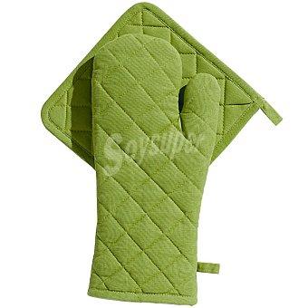 CASACTUAL Araceli set de manopla y agarrador acolchados en color verde
