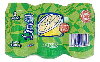 Hacendado Limon con gas Lata pack 6 x 33 cl - 1980 ml