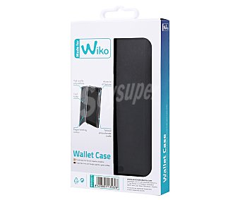 MADE FOR WIKO Funda con tapa Wallet, negra, compatible con Wiko Fever. (teléfono no incluido)