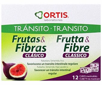ORTIS Complemento alimenticio, favorece un tránsito intestinal regular 12 Cubitos masticables