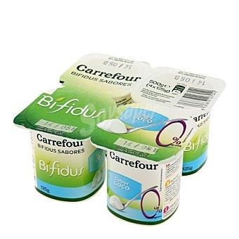 Carrefour Yogur Bífidus sabor coco 0% MG Pack de 4x125 g