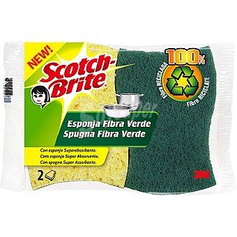 Scotch Brite Estropajo con esponja fibra verde celulósica superabsorbente Envase 2 unidades