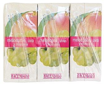 Hacendado Zumo melocoton uva y manzana 6 x 200 cc