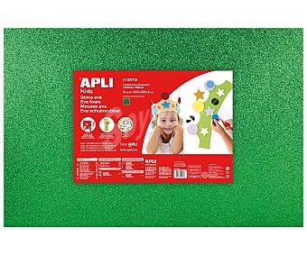 APLI Plancha de foam, goma eva de color verde con purpurina y dimensiones 400x600x2 milímetros 1 unidad