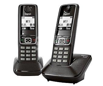 GIGASET Teléfono inalámbrico A420 duo Dect Negro, identificador de llamadas, manos libres, agenda para 100 contactos. 1 Unidad