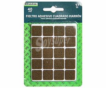 RAIA Fieltro Adhesivo Cuadrado Doble, Color Marrón 17x17x3 Milímetros 1 Unidad