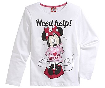 Disney Pijama largo para niña MINNIE MOUSE, color blanco, talla 6