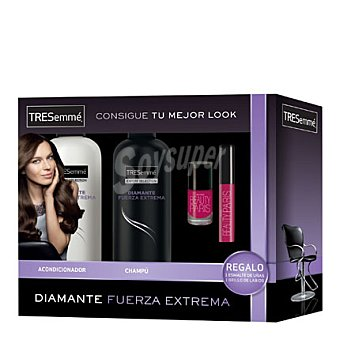 Tresemmé Pack Diamante Fuerza Extrema + esmalte uñas y brillo labios 1 ud
