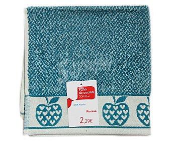AUCHAN Paño de cocina de rizo, estampado color azul, 50x50 centímetros 1 Unidad