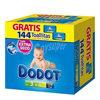 Dodot Pañales talla 3 (4-10 kg) + regalo 144 toallitas 176 unidades