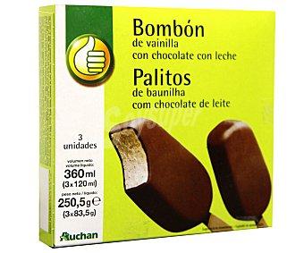 Productos Económicos Alcampo Bombón Helado de vainilla con chocolate con leche Pack 3 Unidades de 120 Mililitros