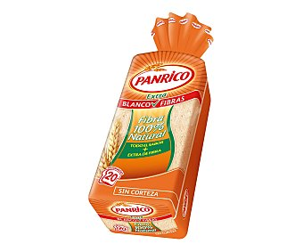 Panrico Pan de molde sin corteza blanco fibra Paquete 450 g