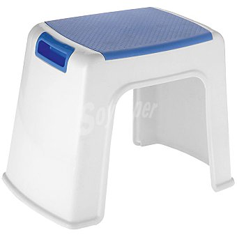 Taburete de plástico en color azul y blanco