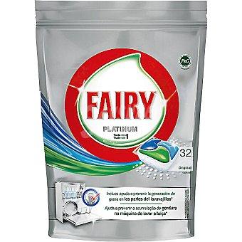 Fairy detergente lavavajillas Platinum limón todo en 1 envase 32 pastillas