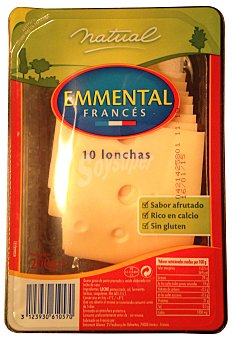 Natual Queso barra lonchas emental Paquete 200 g