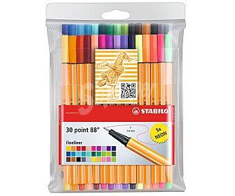 Stabilo Caja de 25 rotuladores con punta fina, grosor de trazado de 0,4 milímetros y de diferentes colores + 5 rotuladores de colores neón 1 unidad