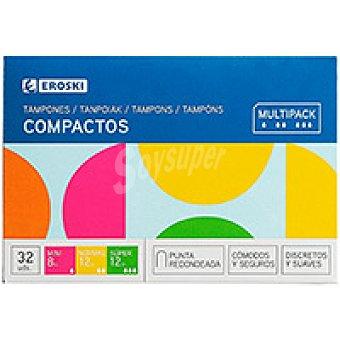 Eroski Tampón con aplicador compacto multipack Caja 32 unid