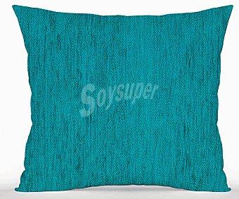 Auchan Cojín liso de chenilla 45x45 centímetros, color azul zafiro 1 Unidad