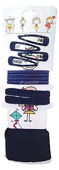 DELIPLUS Accesorios cabello infantil color azul (4 ganchos cabello, clips, gomas cabello distintos tamaños, turbante y goma cabello lazo) 1u