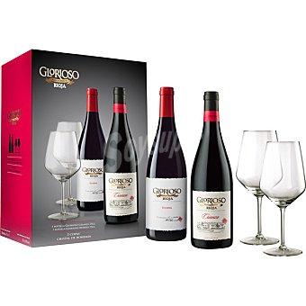 Glorioso Vino tinto crianza D.O. Rioja Caja copas de cristal de Bohemia 2 botellas 75 cl + 2 copas