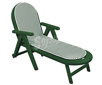 Campos Tumbona plegable para jardín modelo Caiman. Fabricada en resina de color verde, incluye cojín modelo Ecogarden 1 unidad