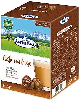 Central Lechera Asturiana Café con leche en monodosis compatibles maquinas Dolce Gusto Estuche 16 cápsulas