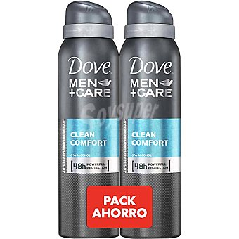Dove Desodorante For Men Clean Comfort sin alcohol pack 2 spray 200 ml Pack 2 spray 200 ml