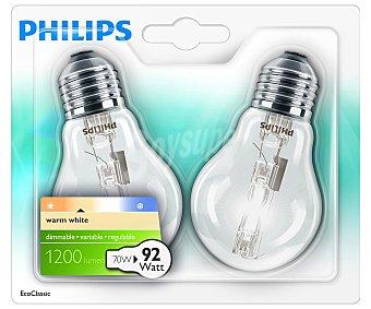 Philips Bombilla ecohalógena estándar 70 Watios, casquillo E27 (grueso) y luz cálida 2 unidades