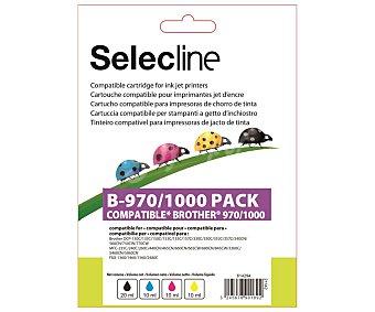 Selecline Pack 4 cartuchos de tinta compatibles B-970/1000, negro, cian, magenta y amarillo negro, cian, magenta y amarillo
