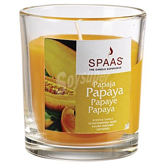 SPAAS Vela Perfumada en vaso de cristal transparente aroma Papaya