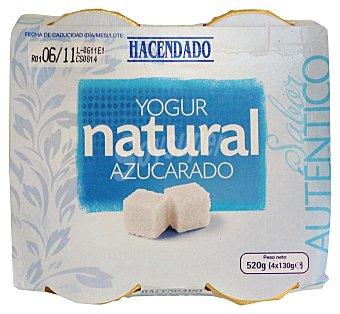 Hacendado Yogur natural azucarado (tarro cristal) Pack 4 x 130 g - 520 g