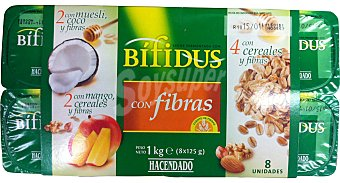 Hacendado Yogur bifidus fibras trozos (cereales / muesli-coco / cereales-mango) Pack 8 x 125 g - 1 kg